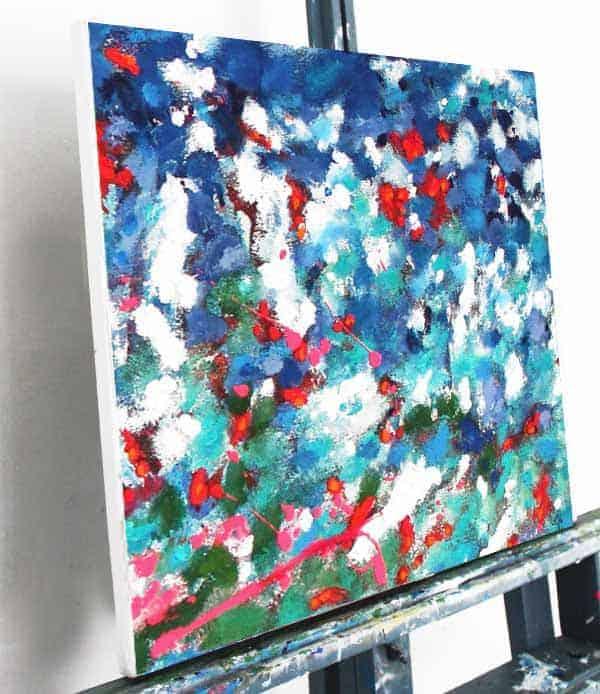 acrylbild im sommer rot blau abstrakt