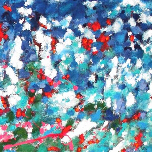 acrylbild im sommer weiss rot blau abstrakt