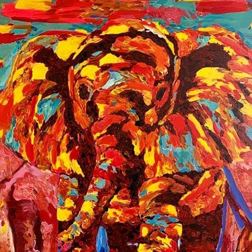 bild malen lassen elefanten steppe