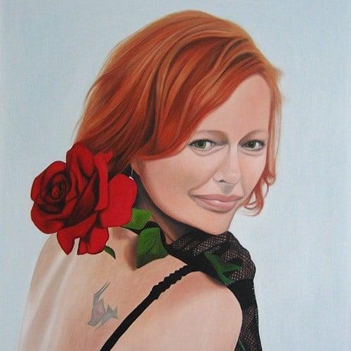 portraetmalerei frau hochzeit rose