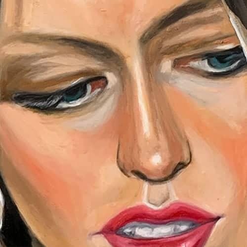portraetmalerei frau lippen augen