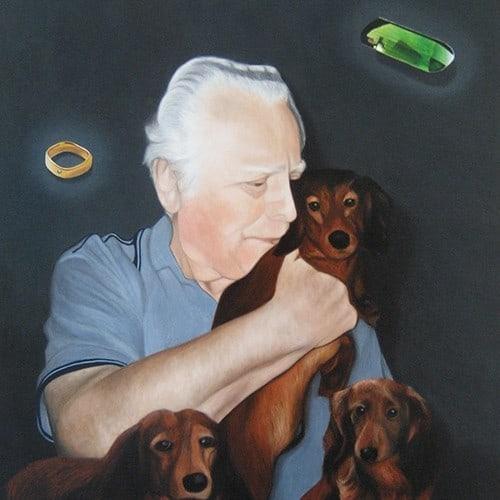 portraetmalerei hunde mann
