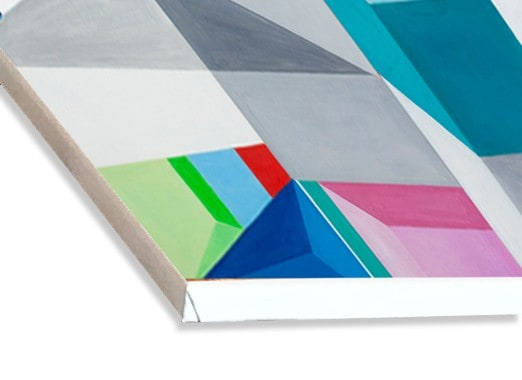 Abstraktes Acrylbild Konstruktion auf leinwand weiss rot blau