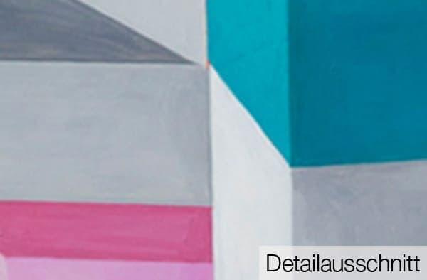 Abstraktes Acrylbild Konstruktion detail leinwand weiss rot blau