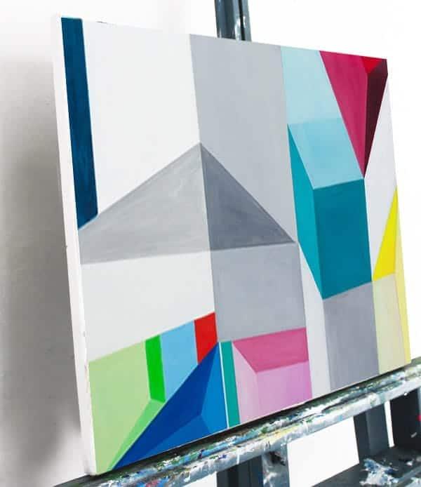 Abstraktes Acrylbild Konstruktion leinwand weiss rot blau