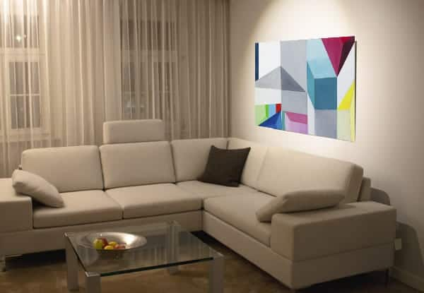 Abstraktes Acrylbild Konstruktion wandbilder weiss rot blau