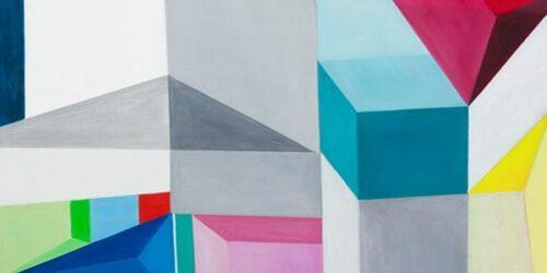 Abstraktes Acrylbild Konstruktion weiss rot blau