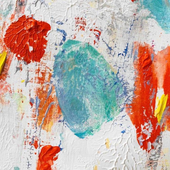 Abstraktes Acrylbild Rote und Türkise Komposition