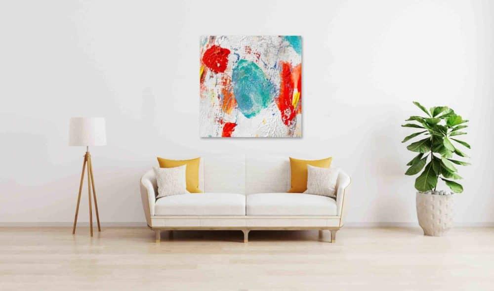 Abstraktes Acrylbild Rote und Türkise Komposition wandbild