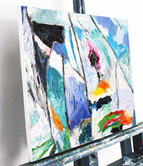Abstraktes Acrylbild leinwand rot weiss blau