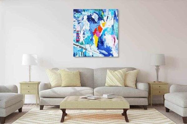 abstraktes acrylbild blaue spuren wandbild