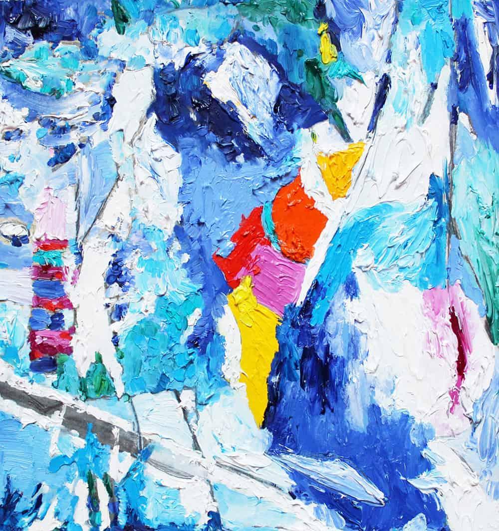 abstraktes acrylbild blaue spuren