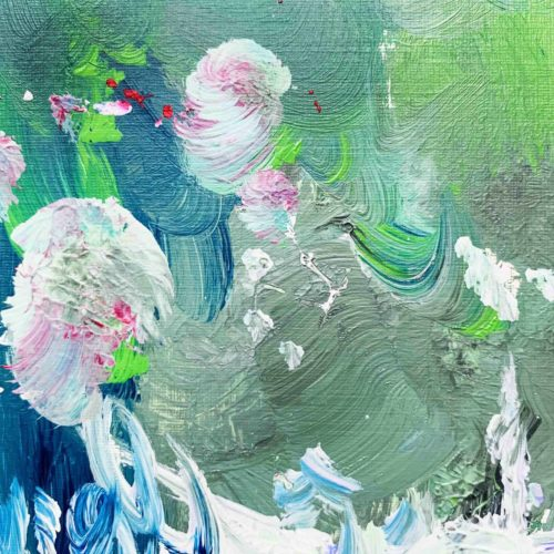 Abstraktes Acrylbild Grün Weiß und Rosa