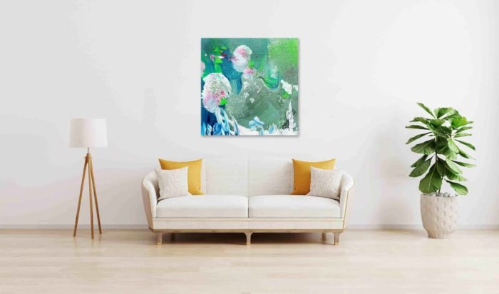 abstraktes acrylbild gruen weiss und rosa punkte wandbild