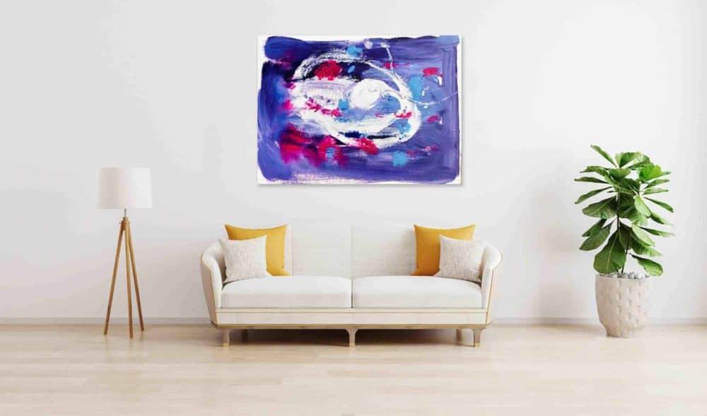 abstraktes acrylbild lila wandbild