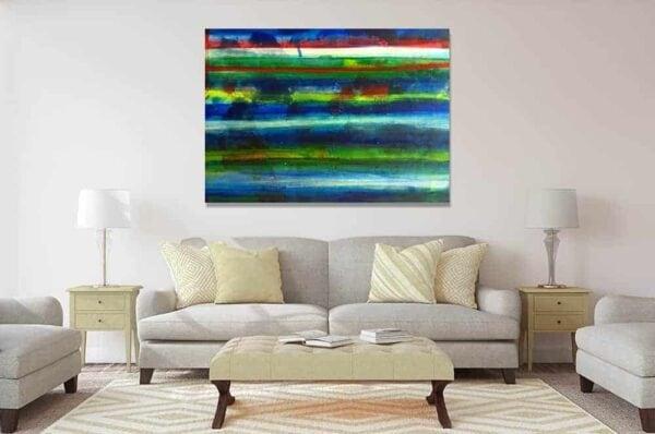 abstraktes acrylbild wasser wandbild