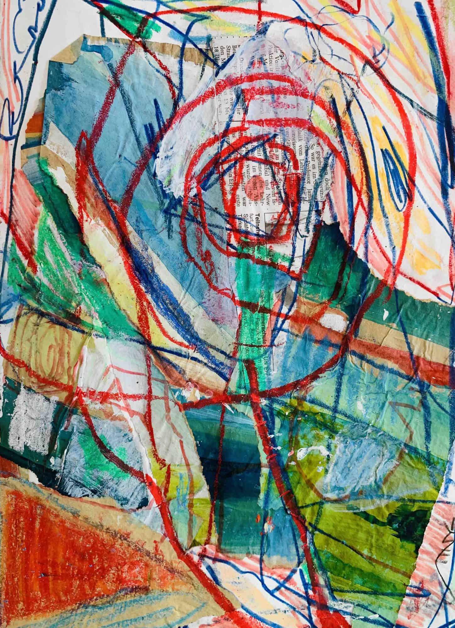 Acrylbild abstrakte Spuren mit Wesen