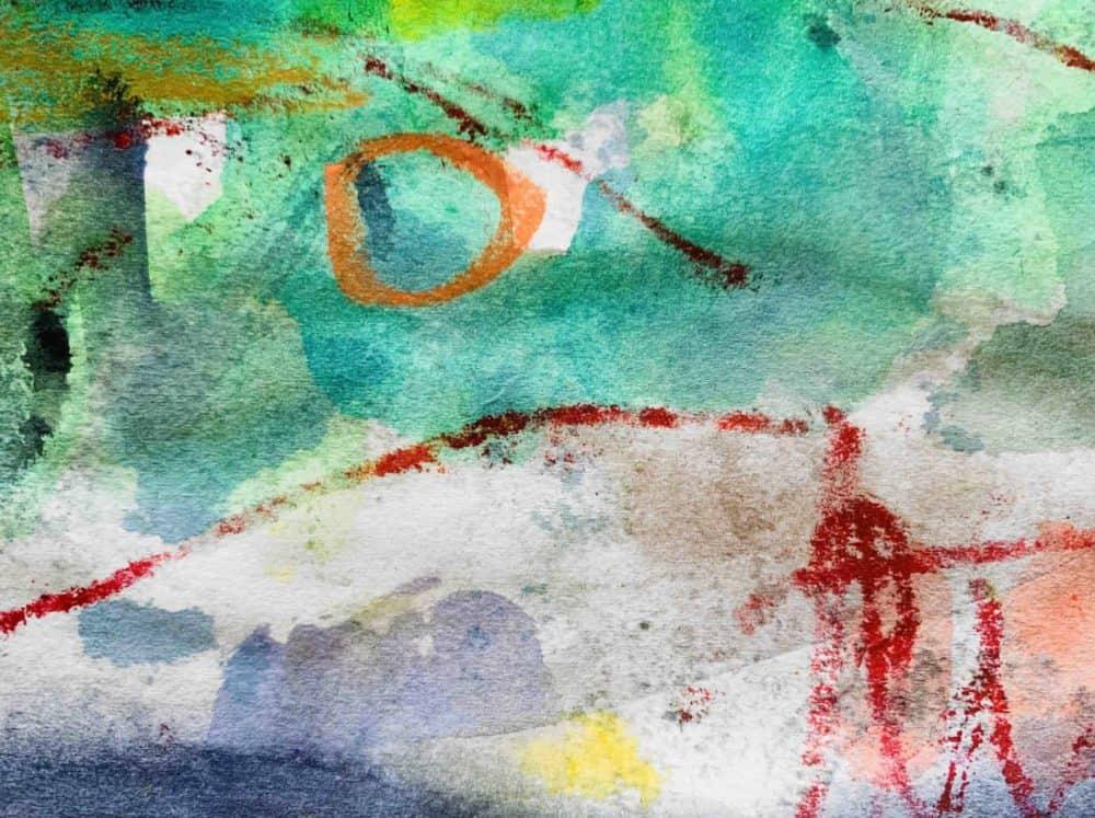 Acrylbild abstrakter oranger Kreis