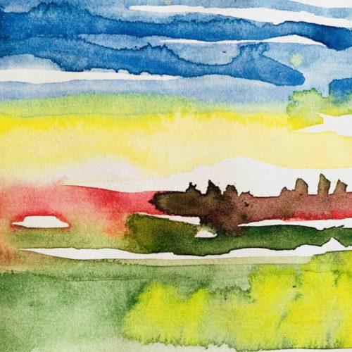 Acrylbild Landschaft im Frühling
