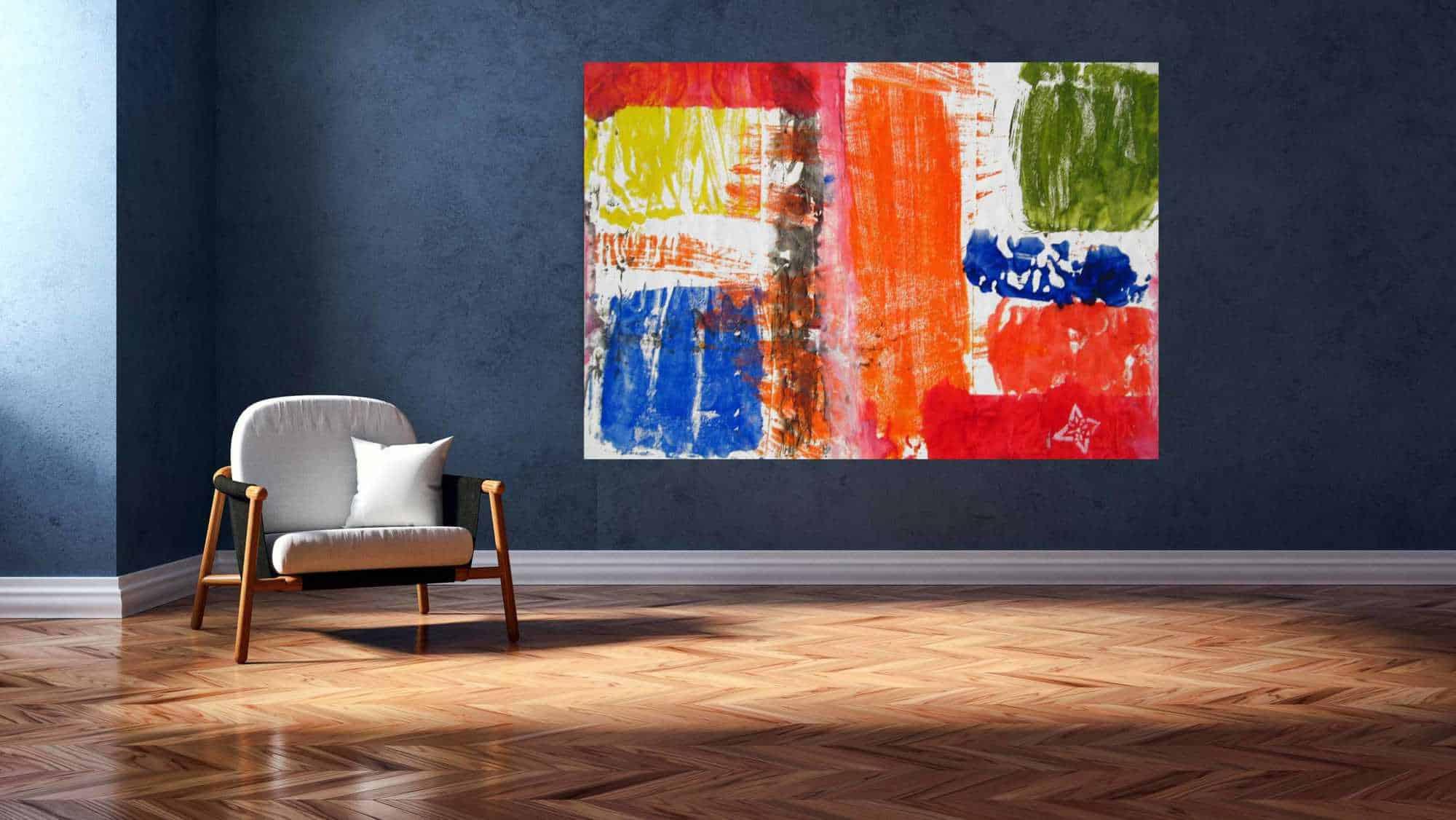 acrylbild rot gelb orange abstrakt wandbild