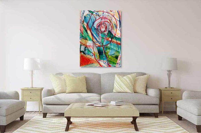 acrylbild wandbild abstrakte spuren mit wesen