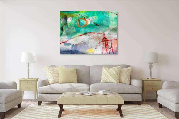 acrylbild wandbild abstrakter oranger kreis