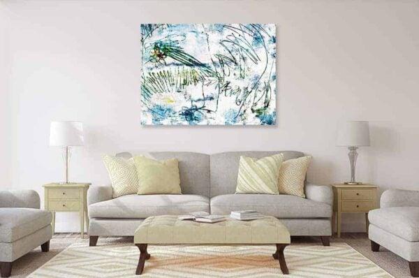 acrylbild wandbild leichtes blau und grün