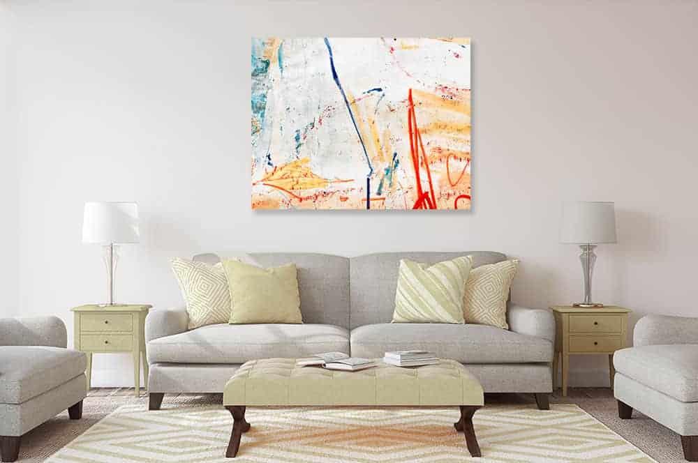 acrylbild wandbild leichtigkeit mit orange
