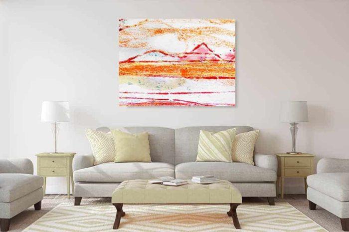 acrylbild wandbild weiss rote berge