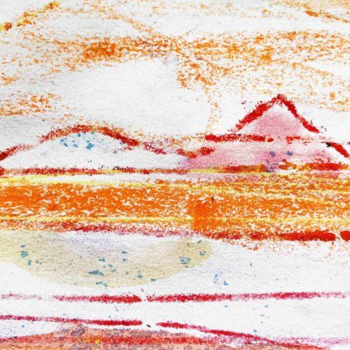 Acrylbild Weiß Rote Berge