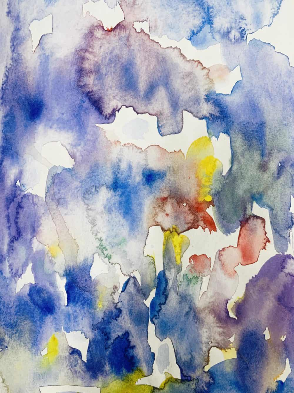 Abstraktes Acrylbild Blaue Ruhe im Regen