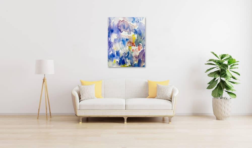Abstraktes Acrylbild Blaue Ruhe im Regen wandbild