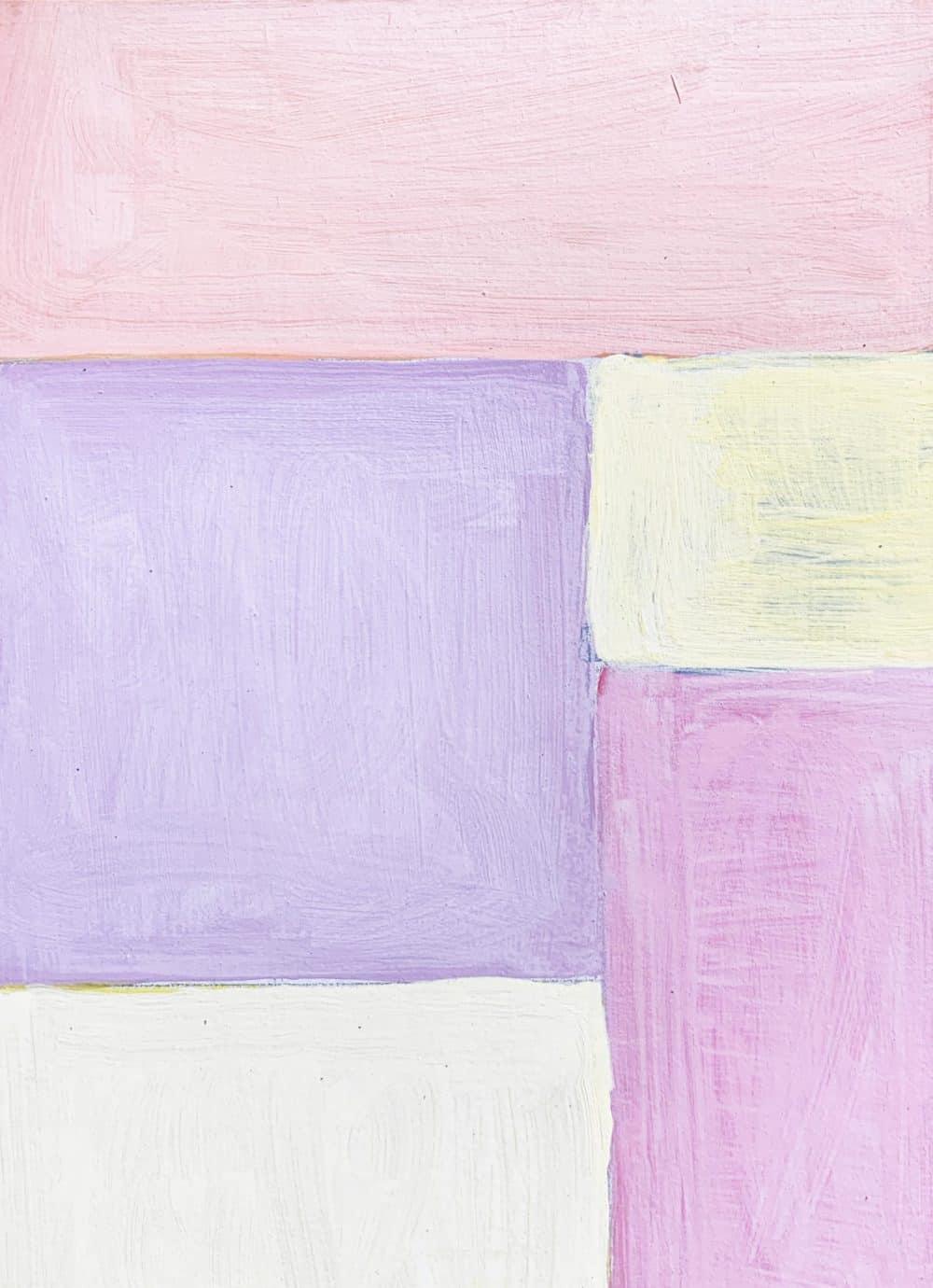 Abstraktes Acrylbild Flächen mit Rosa und Rose und Gelb
