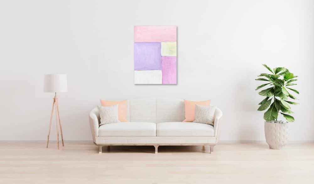 Abstraktes Acrylbild Flächen mit Rosa und Rose und Gelb wandbild