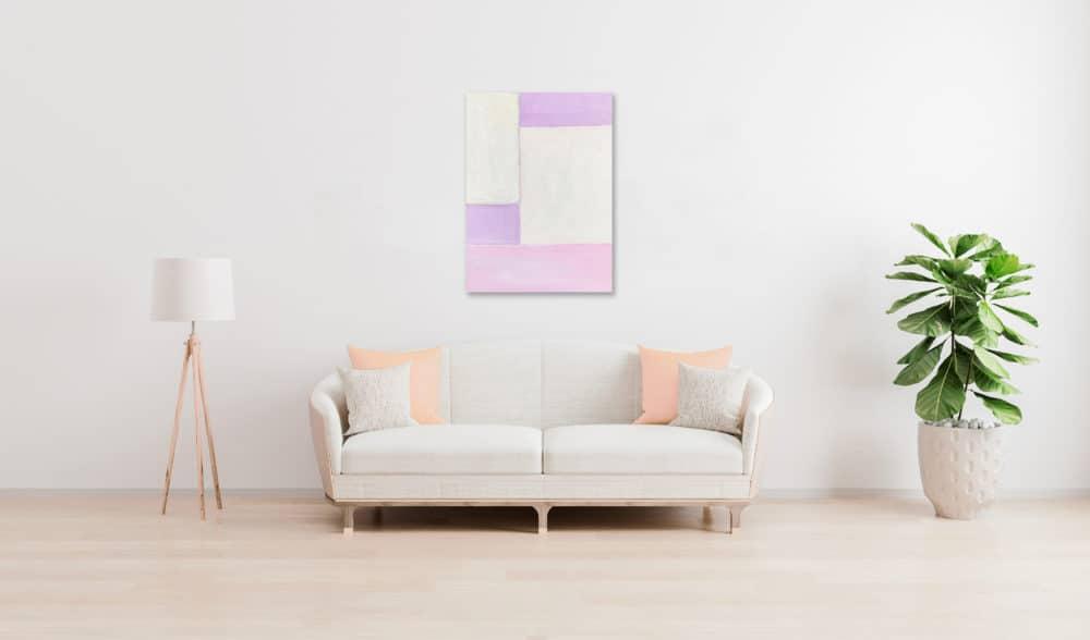 Abstraktes Acrylbild Flächen mit Rosa und Rose wandbild