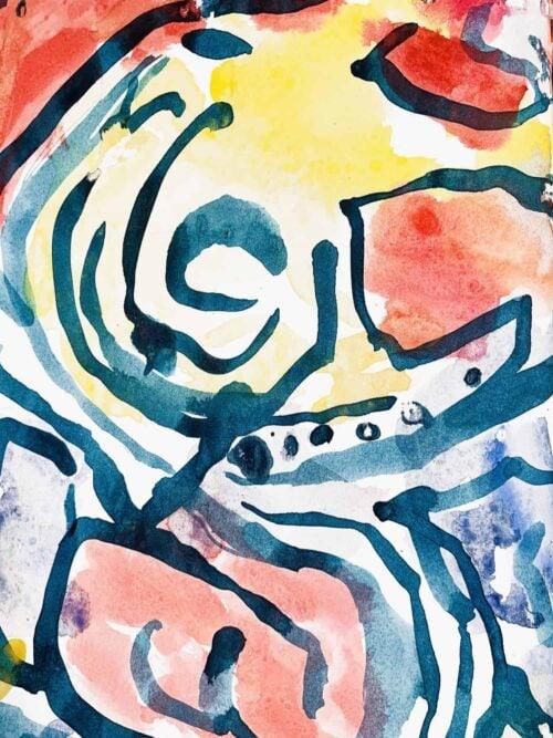 Abstraktes Acrylbild Gelb Rote Abstraktion mit Blau