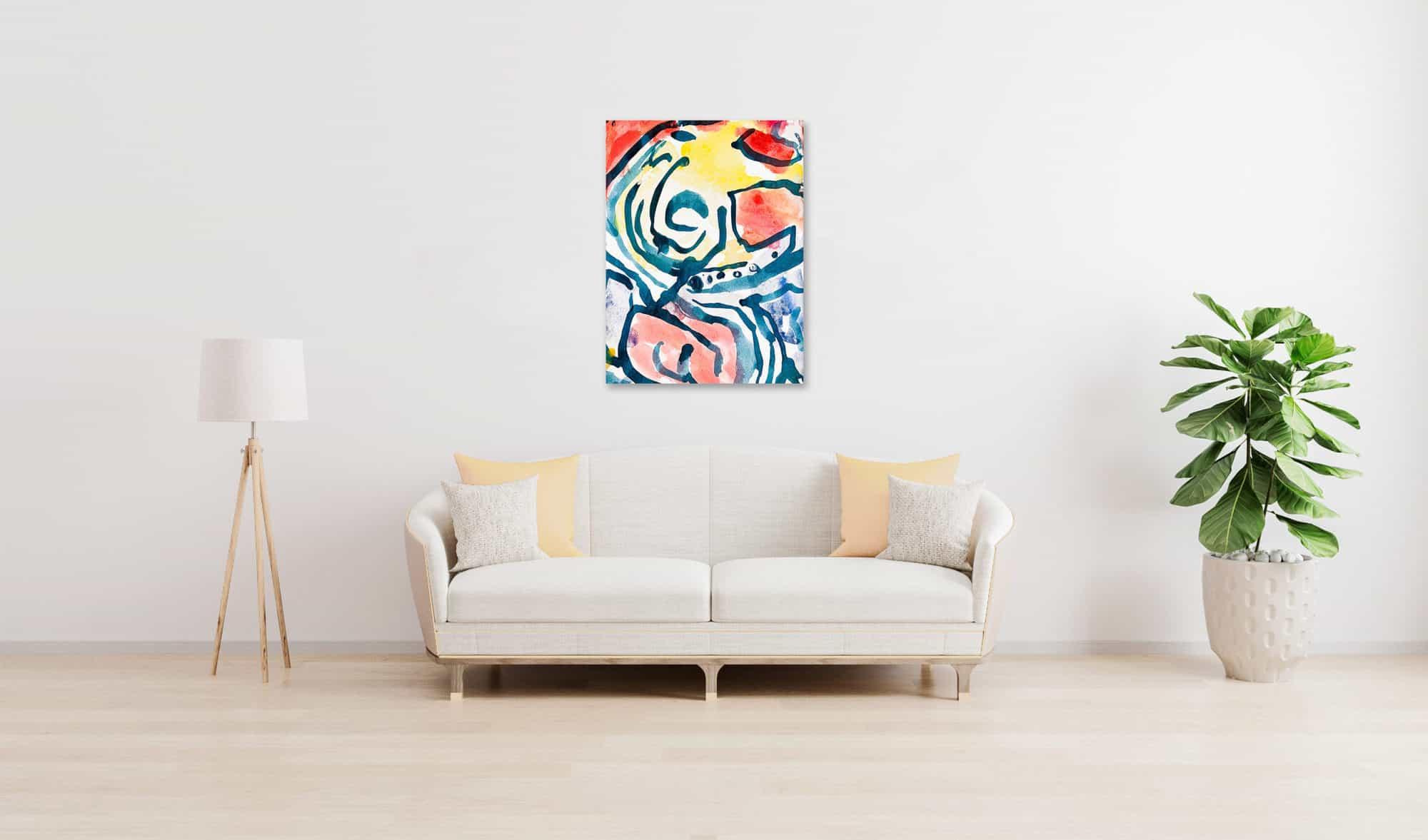 Abstraktes Acrylbild Gelb Rote Abstraktion mit Blau wandbild