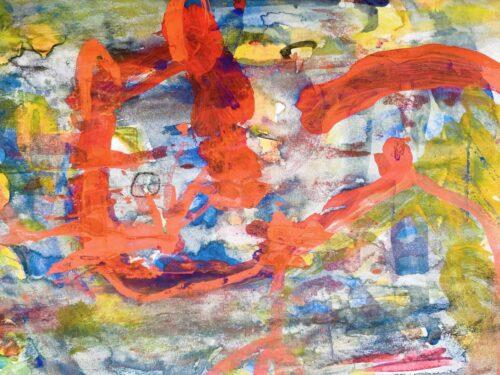 Abstraktes Acrylbild Gelb Rote Abstraktion
