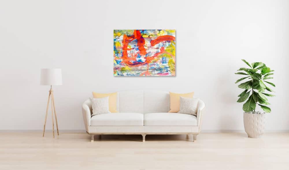 Abstraktes Acrylbild Gelb Rote Abstraktion wandbild