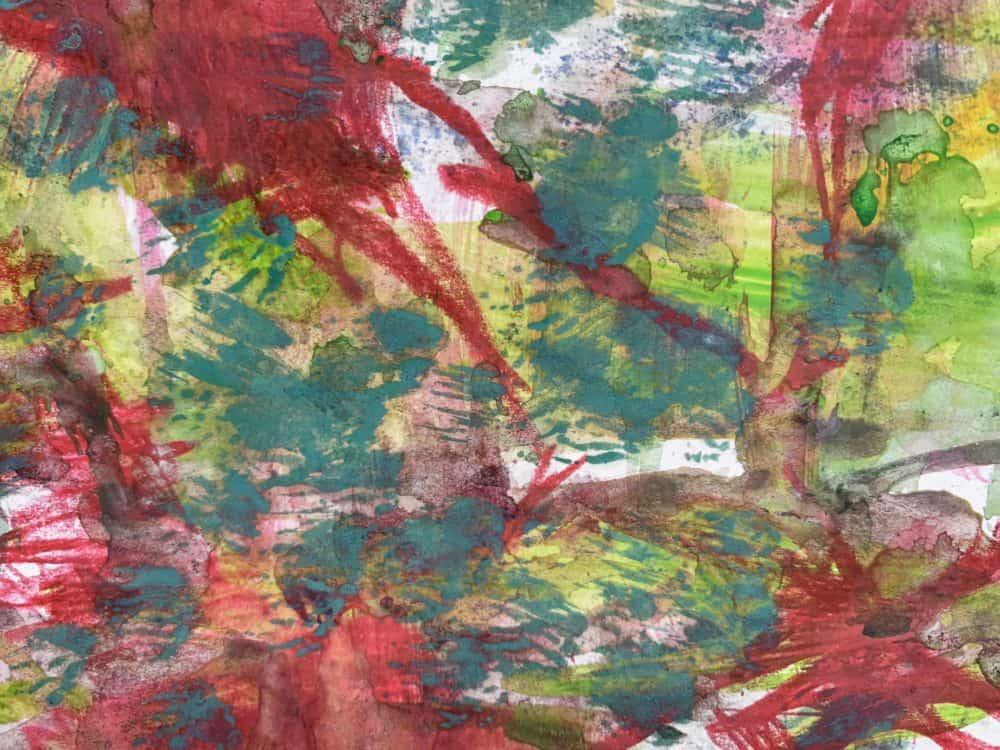 Abstraktes Acrylbild Grün Rote Abstraktion