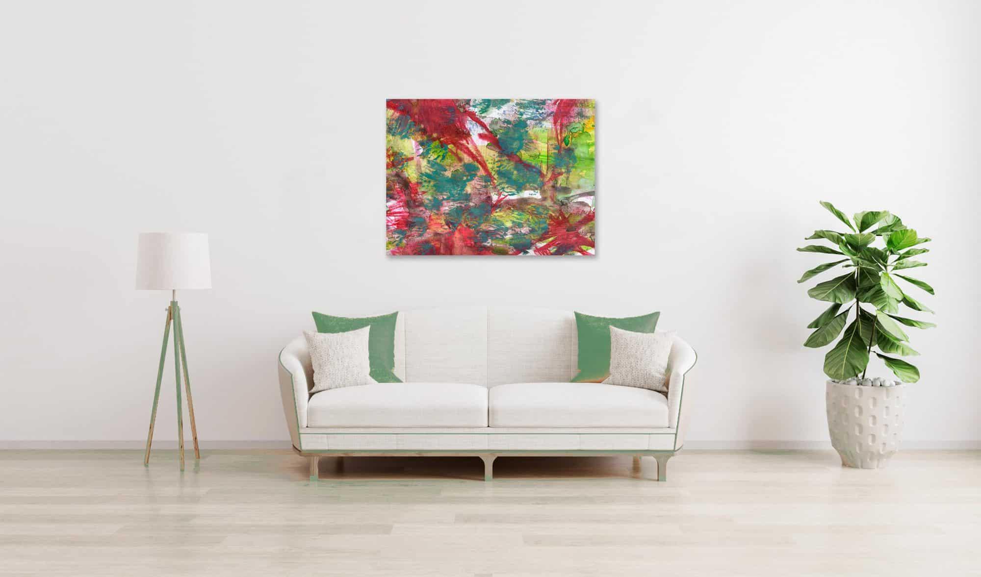 Abstraktes Acrylbild Gruen Rote Abstraktion wandbild