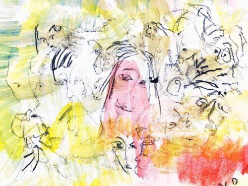 Abstraktes Acrylbild Hell Gelbe Leichtigkeit des Seins