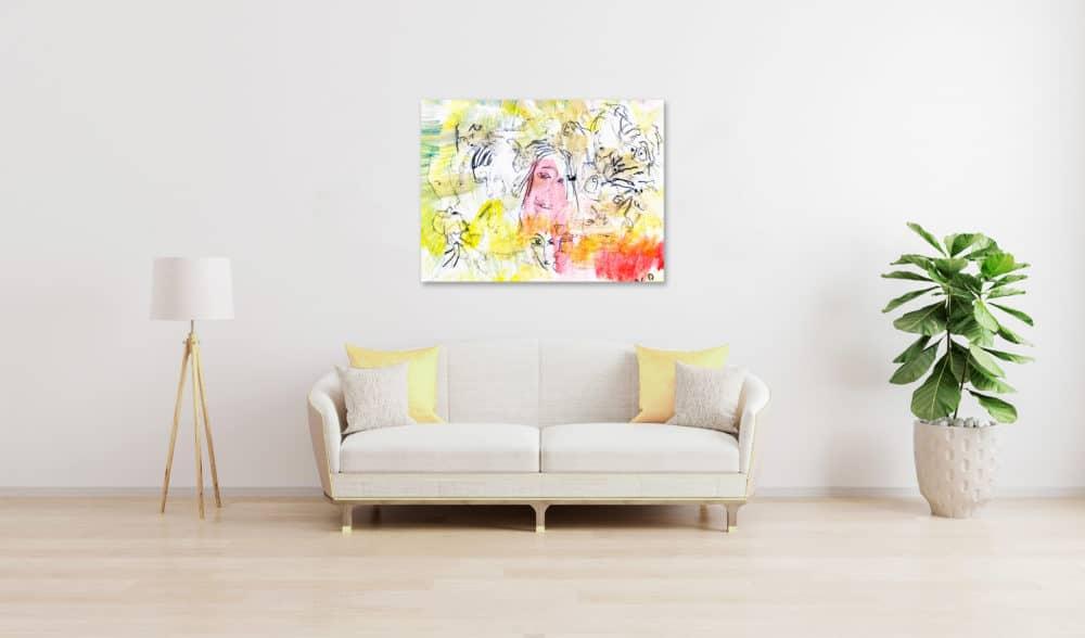 Abstraktes Acrylbild Hell Gelbe Leichtigkeit des Seins wandbild