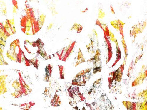 Abstraktes Acrylbild Helligkeit mit Gelb und Rot