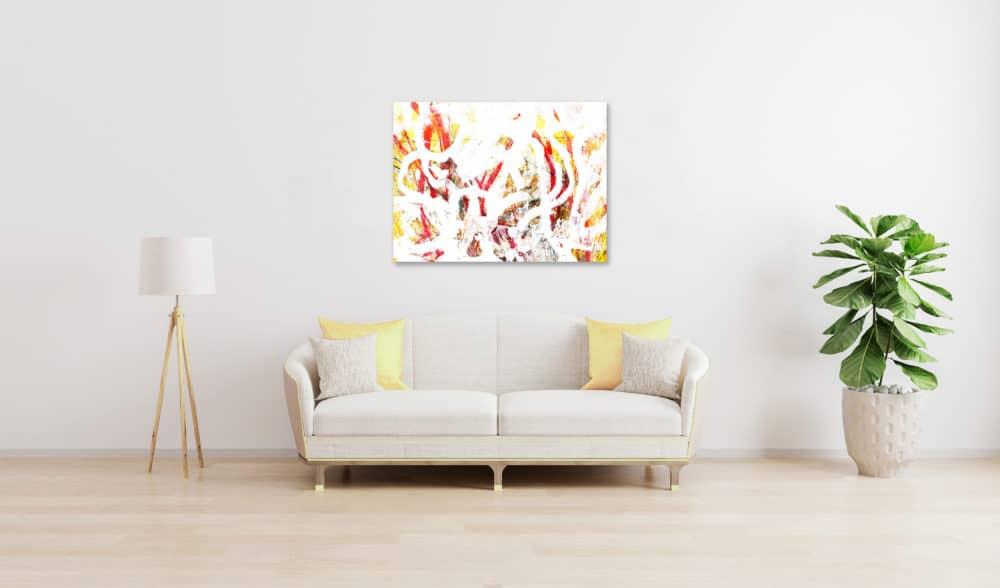 Abstraktes Acrylbild Helligkeit mit Gelb und Rot wandbild
