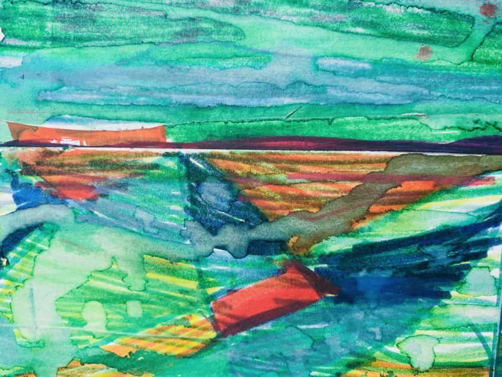 Abstraktes Acrylbild Landschaft mit Rot