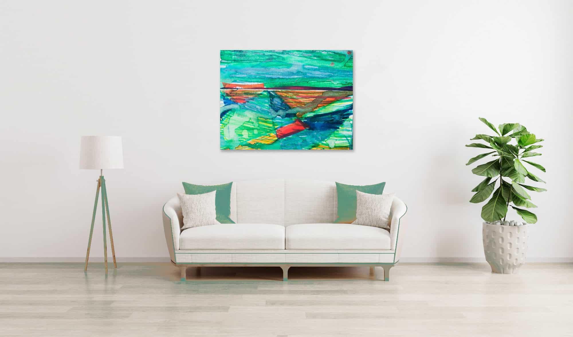 Abstraktes Acrylbild Landschaft mit Rot wandbild