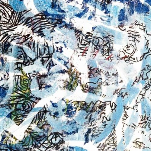 Abstraktes Acrylbild Leichtigkeit mit Blau und Zeichnung