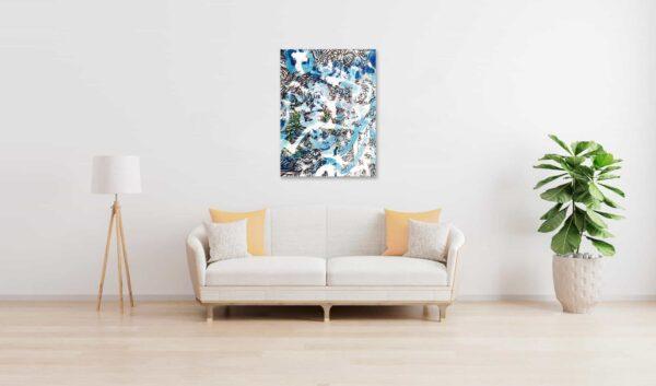 Abstraktes Acrylbild Leichtigkeit mit Blau und Zeichnung wandbild