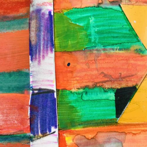 Abstraktes Acrylbild Rot Orange Zeichen